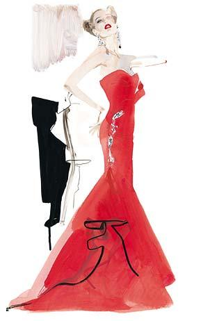 david downton, fashion illustration, valentino, doutzen kroes