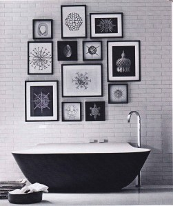 Elle decoration, black and white interiors, monochrome, bathroom