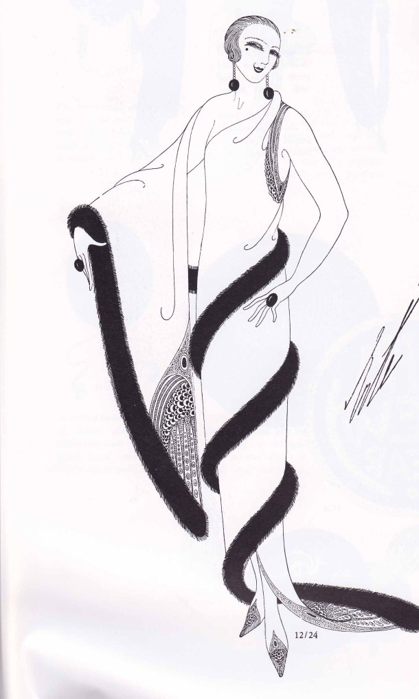 Erte, Fashion Design, Fashion Illustration, 1920s, Harpers Bazar