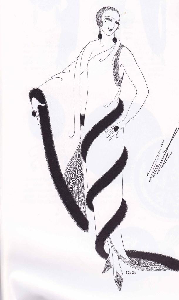 Erte, Fashion Design, Fashion Illustration, 1920s, Harpers Bazar