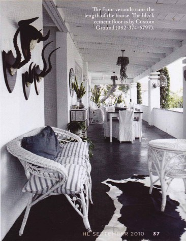 House & Leisure, black and white interiors, monochrome, porch, verandah