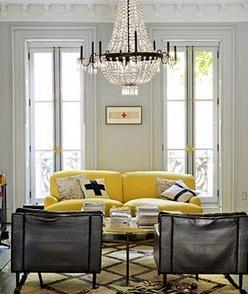 Jenna Lyons, sitting roome, JCrew, yellow