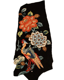 Japanese blanket, flowers, embroidered bird