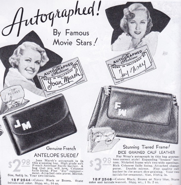 1930s Sears, Autographed bags