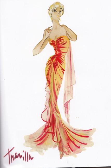 William Travilla, Orange Dress, Marilyn Monroe, Gentlemen Prefer Blondes