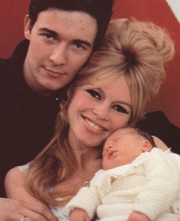 Brigitte Bardot, Jacques Charrier and baby