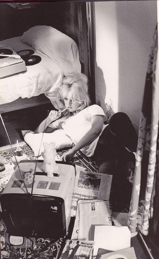 Brigitte Bardot, reading, listening to records