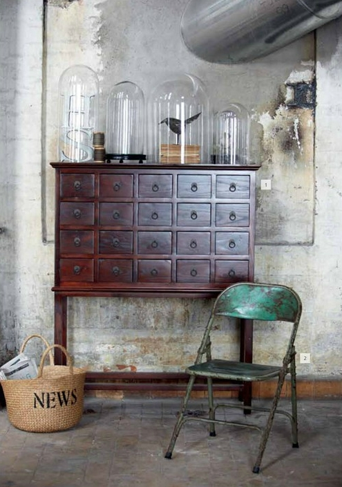 Bell Jar, industrial style, wooden cabinet