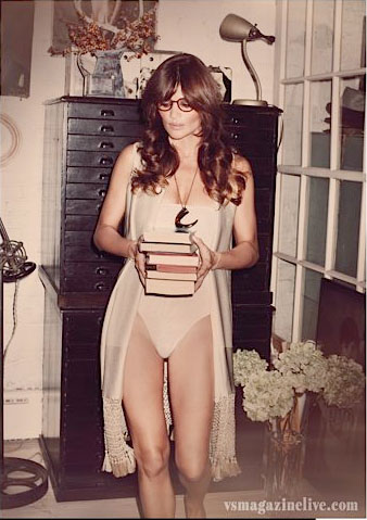 Helena Christensen, swimming costume, vintage home