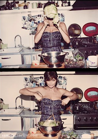 Helena Christensen, lettuce, kitchen, vintage home