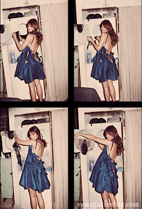 Helena Christensen, blue dress, at home