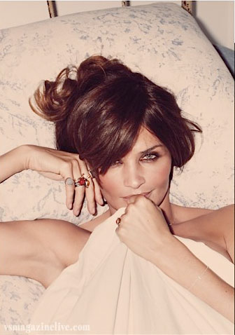Helena Christensen, at home, in bed