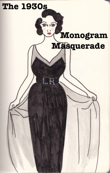 The 1930's Monogram Masquerade, Carolyn Everitt, Fashion Illustration