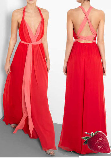 Halston Heritage, Pink and Red Dress. My Wardrobe