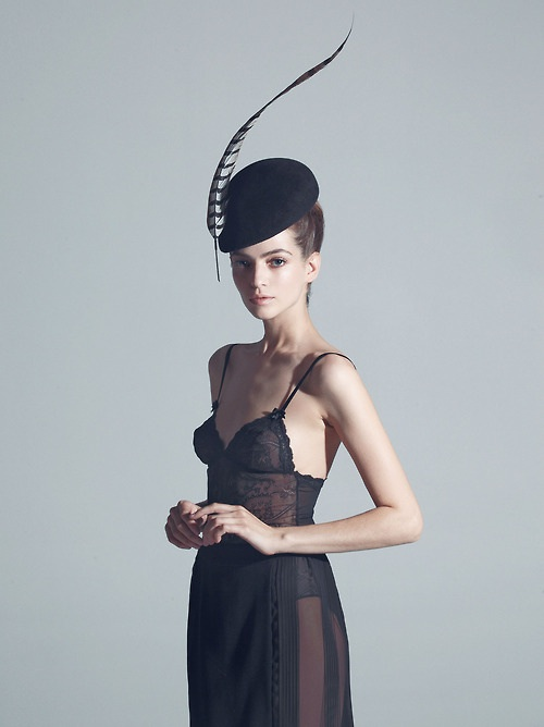 Ulyana Sergeenko, photograph, hat and slip