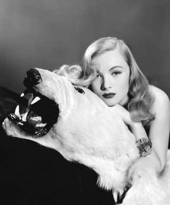 Veronica Lake with bear, hair