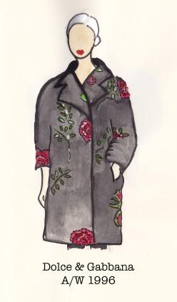 Dolce & Gabbana Fall 1996, Fashion Illustration, Rose and Black Swagger Coat, Carolyn Everitt