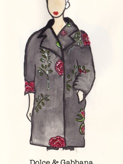 Dolce & Gabbana Fall 1996, Fashion Illustration, Rose and Black Swagger Coat, Carolyn Everitt
