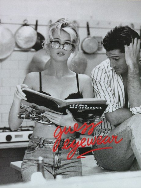 Claudia Schiffer, Guess, Ellen Von Unwerth, glasses, kitchen