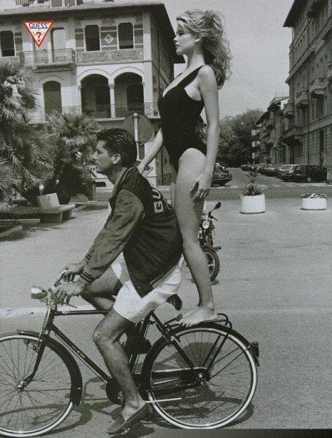 Claudia Schiffer, Guess, Ellen Von Unwerth, back of bicycle