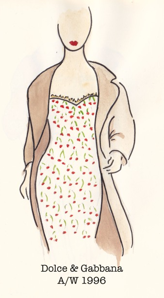 Dolce & Gabbana Fall 1996, Cherry Dress, Fashion Illustration, Carolyn Everitt