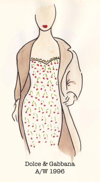 Dolce & Gabbana Fall 1996, Cherry Dress, Fashion Illustration, Carolyn Everitt