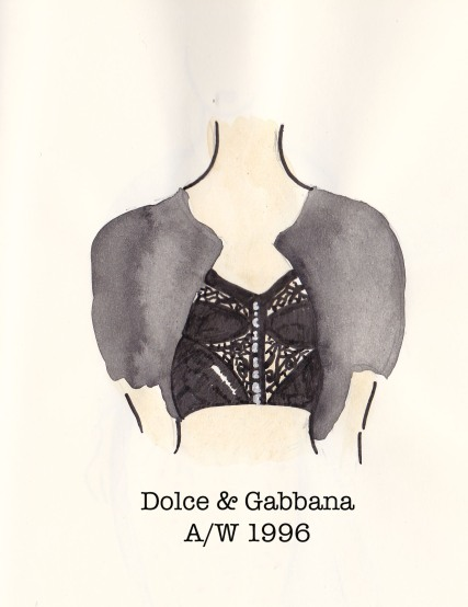 Dolce & Gabbana Fall 1996, black corset and cropped cardigan, Fashion Illustration, Carolyn Everitt