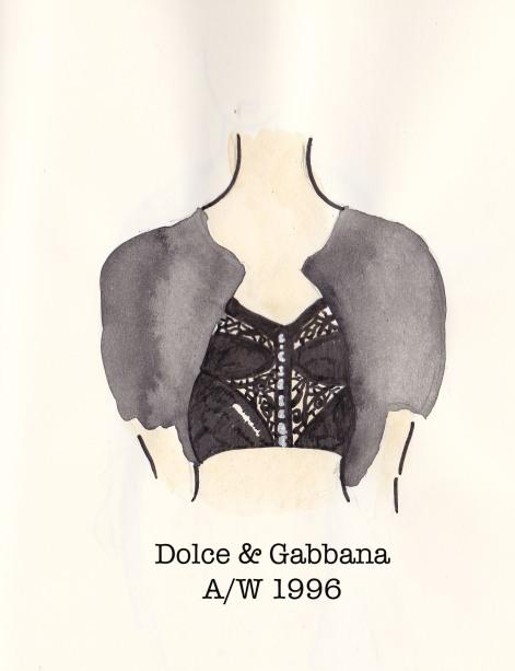 Dolce & Gabbana Fall 1996, black corset and cropped cardigan, Fashion Illustration, Carolyn Everitt