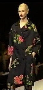 Dolce & Gabbana, Fall 1996, Black swagger coat with embroidered roses