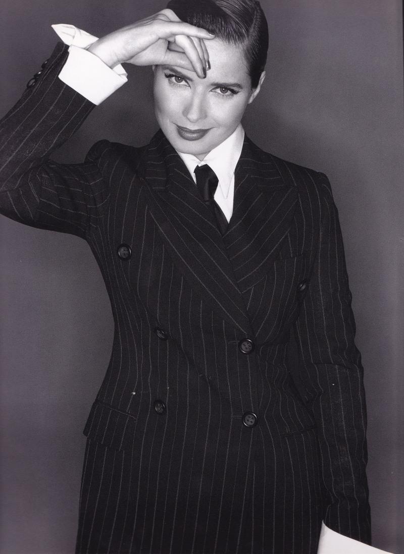 Isabella Rossellini, Dolce & Gabbana, pinstripe suit, Michael Comte