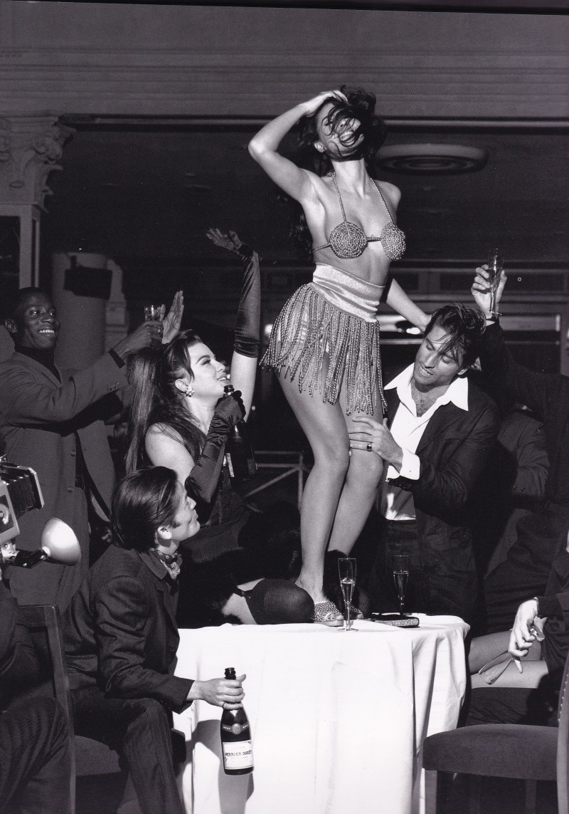 Monica Bellucci, Dolce & Gabbana, Beaded bikini, dancing on table, stephen Meisel