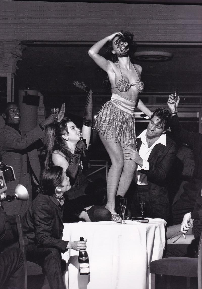 Monica Bellucci, Dolce & Gabbana, Beaded bikini, dancing on table, stephen Meisel