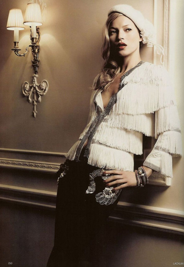 Kate Moss, White Beret, Fringed jacket, 1930s style, Lachlan Bailey, Vogue December 2007.