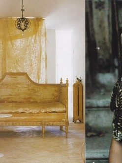 Carolyn Quartermaine, Chandelier, Gold settee, sequinned cardigan