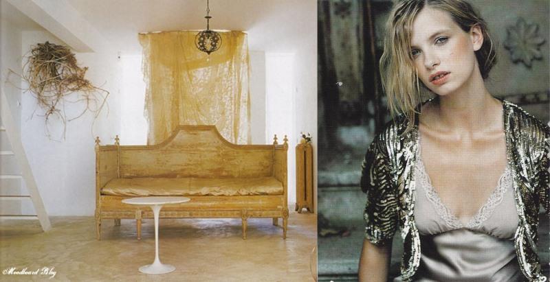 Carolyn Quartermaine, Chandelier, Gold settee, sequinned cardigan