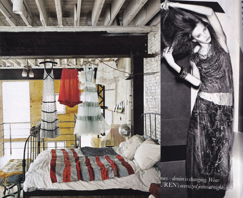 Loft apartment, silver disco ball, industrial chic, ralph lauren, jeans
