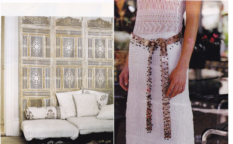 Moroccan style storage, lace dress, gold handmade belt