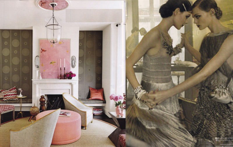 Alberta Ferretti and pink and brown art deco interior