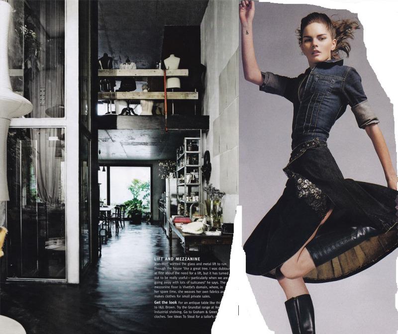 industrial chic, sequinned denim skirt, denim shirt, bell jars, loft apartment