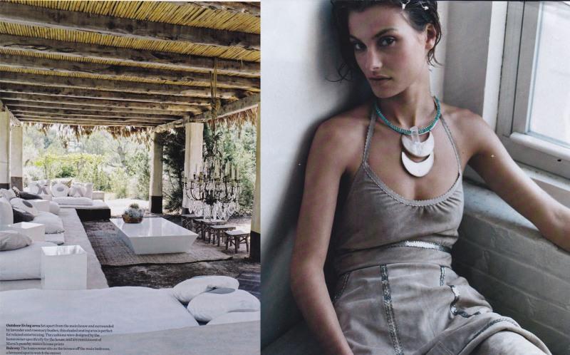 Outdoor chandelier, grey suede sequinned dress, half moon necklace, Aurelie