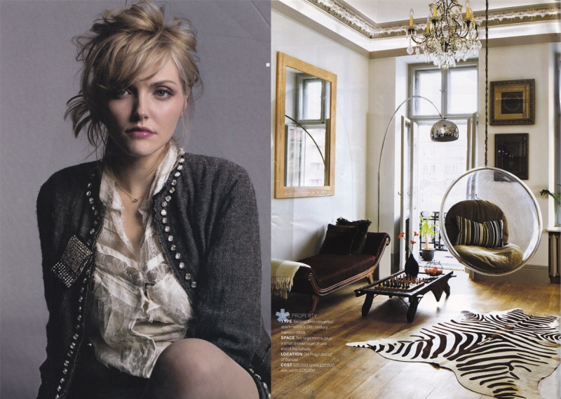 Sophie Dahl, lace shirt, sequinned jacket, hanging bubble chair