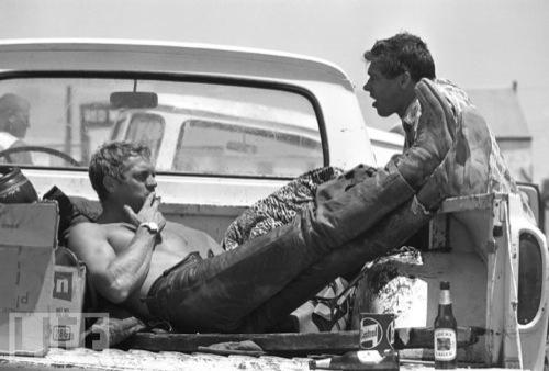 Steve McQueen back of a truck, John Dominis, Life Magazine
