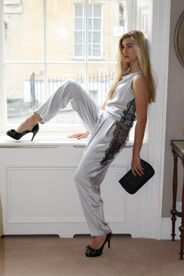 Grey silk trousers with lace inserts