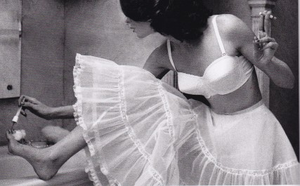 Lillian Bassman, painting toes, Lingerie