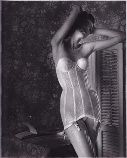 Lillian Bassman, white basque, wallpaper, Lingerie