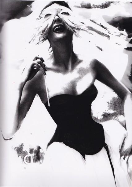 Lillian Bassman, Merry Widow, Venetian Masks, Black Basque, white tulle skirt
