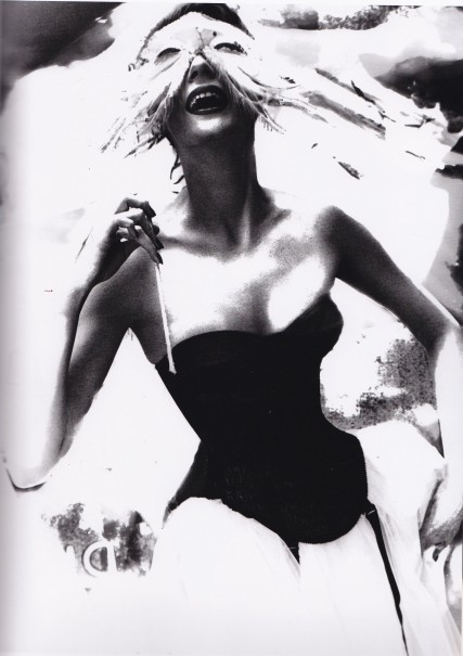 Lillian Bassman, Merry Widow, Venetian Masks, Black Basque, white tulle skirt