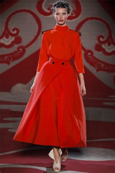 Ulyana Sergeenko, Fall 2012, red dress