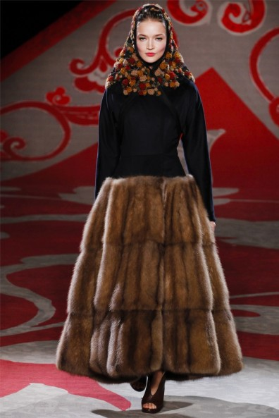 Ulyana Segeenko, Fall 2012, Fur skirt