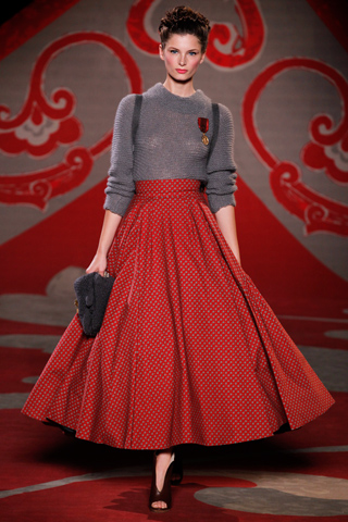 Ulyana Sergeenko, Fall 2012, Red print full skirt, grey mohair jumper, satchel